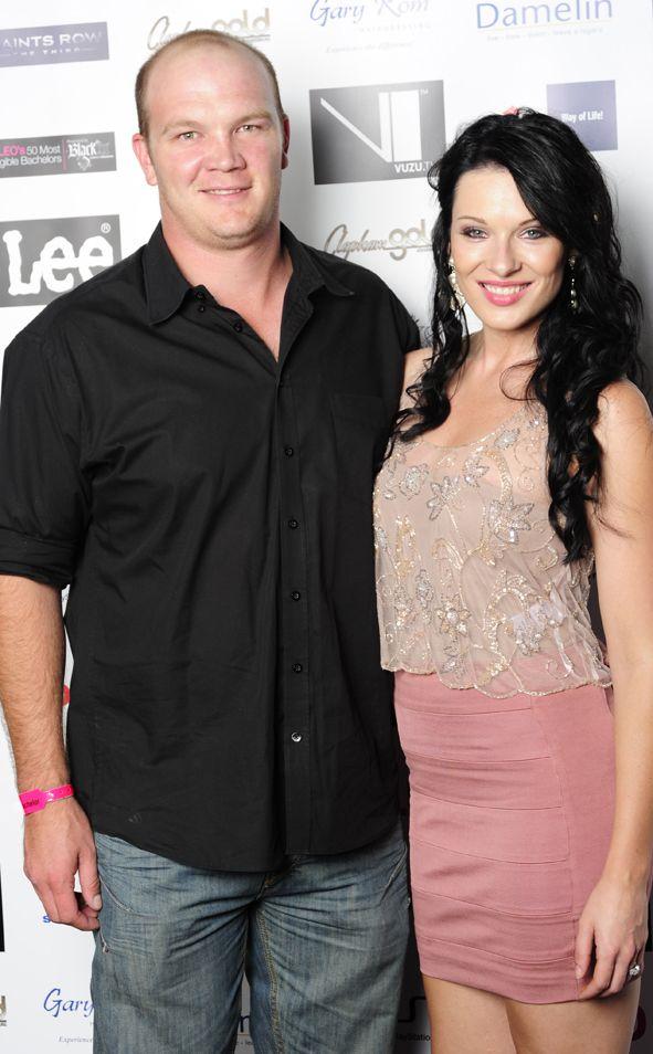Lynné de Jager (Mrs South Africa 2012) with her husband Wilhelm de Jager dressed in Forever New light pink