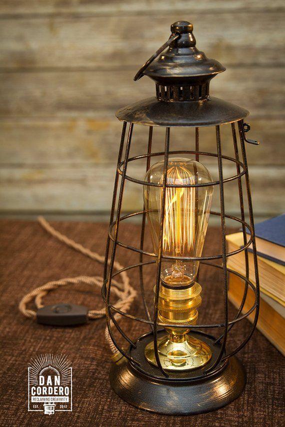 Edison Lantern Table Lamp Desk Lamp Night Light Bed Light Industrial Edison Bulb Lantern Home Accent Steampunk Lamp Lantern Table Lamp Table Lamp Lantern Lamp