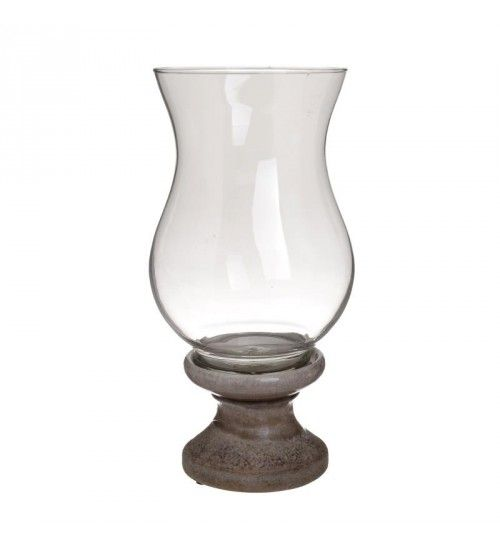 CERAMIC_GLASS CANDLE HOLDER IN CREME COLOR D17X33_5