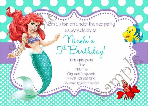 25 best images about Little Mermaid Birthday Ariel Birthday Party – Thank You Party Invitation
