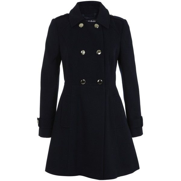Miss Selfridge Military Pea Coat (€98) ❤ liked on Polyvore featuring outerwear, coats, navy, military fashion, navy blue military coat, military style peacoat, navy pea coat et pea jacket