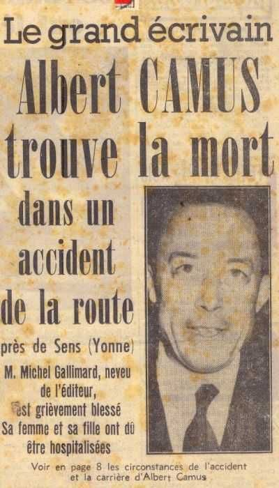 Albert Camus trouve la mort dans un accident de la route