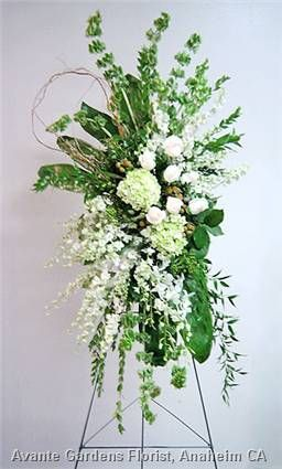 White and Green Funeral Easel Spray
