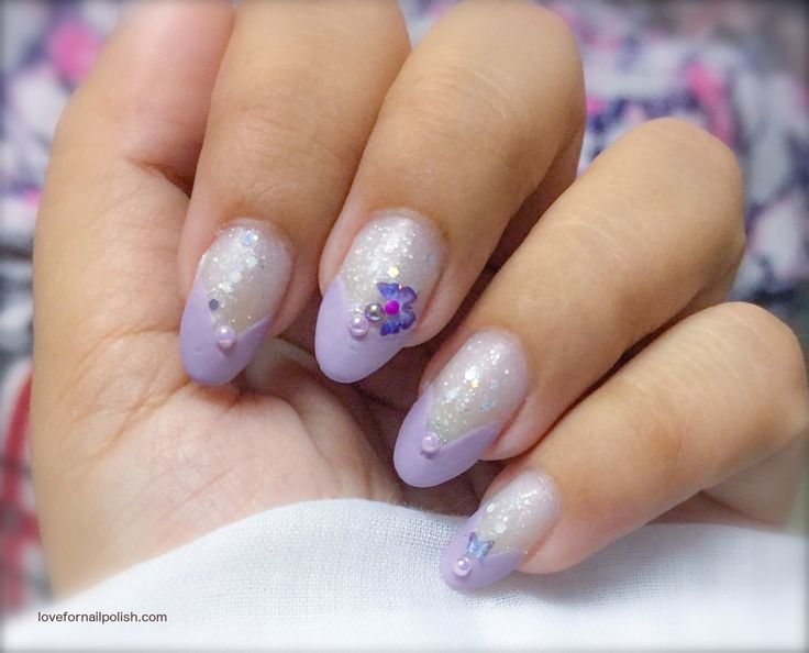 119 best step by step nail art instructions images on pinterest lilac nail polish design cute butterfly on glitter background with lilac nail tips prinsesfo Choice Image