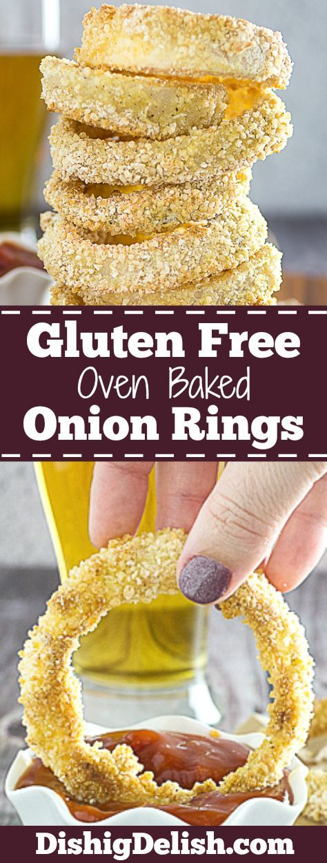 Crispy Oven Baked Gluten Free Onion Rings are a lighter, gluten free version of your favorite pub food. Onions are dipped in gluten free flour and breadcrumbs, and combined with garlic, salt, pepper, and a kick of cayenne. Then they're lightly sprayed with olive oil, and baked to perfection. It's the perfect guilt-free snack!