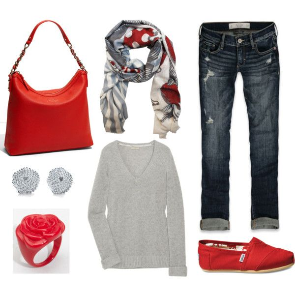 pop of red: Shoes, Dreams Closet, Style, Color, Cute Outfits, Pop, Red Toms, Scarfs, Red Accent