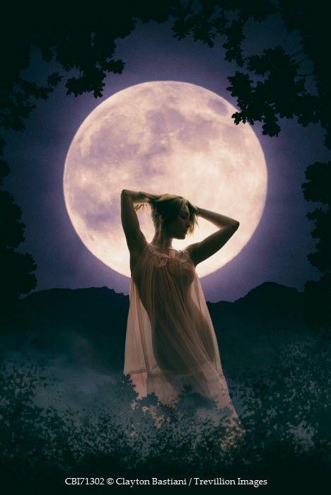 Clayton Bastiani Silhouette Of Young Woman Near Full Moon