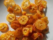 "Candied kumquats, also known as kumquat ""glass"" includes an idea of uses for cumquats"
