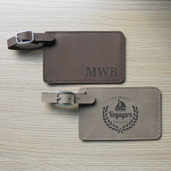 Our personalized faux leather luggage tags are engraved with monograms as shown, or choose from any of the designs in the second listing photo.