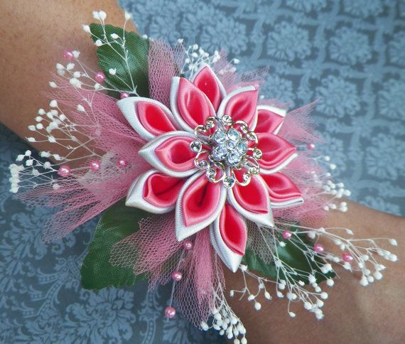 Coral and SIlver Kanzashi Corsage/bracelet by AngelPetals on Etsy