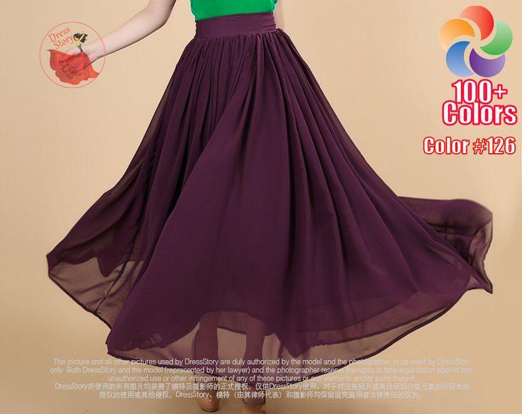 Purple Maxi Skirt with Wide Waist Yoke - Long Purple Skirt - Dark Purple Skirt - Chiffon Maxi Skirt -Full Length Skirt with Waist Yoke SK194 by DressStory on Etsy https://www.etsy.com/listing/236041310/purple-maxi-skirt-with-wide-waist-yoke