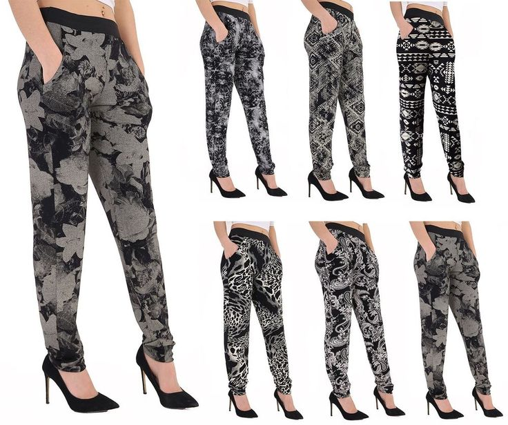 New Women Ladies Printed 2 Pocket Smart Fashionable Hareem Trousers  #Clicktostyle