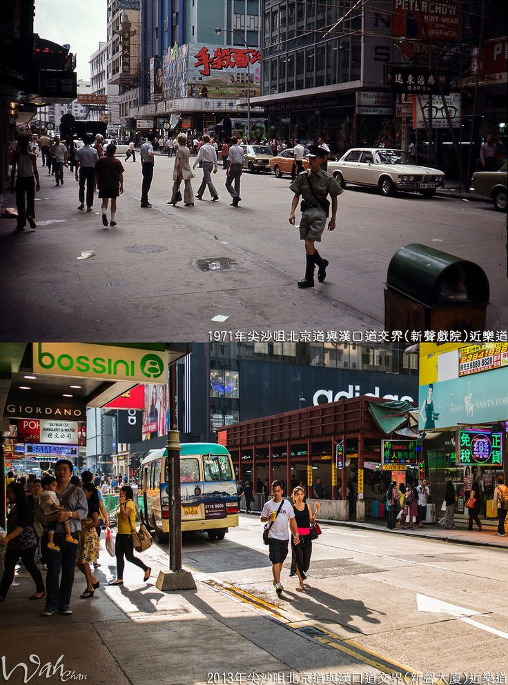 https://flic.kr/p/o2Ni14 | 尖沙咀北京道與漢口道交界近樂道1971年 | - 中左: 新聲戲院 (Sands Theatre)(漢口道/北京道) 1963年7月19日開幕,已拆卸,現址為新聲大廈,資料來源: 香港已結業戲院列表。 - 舊圖電影: 冷面殺手 (1971) - 中右: 模漢大廈 vs 清拆地盤 - 新圖: 香港公共小巴 - 豐田Coaster