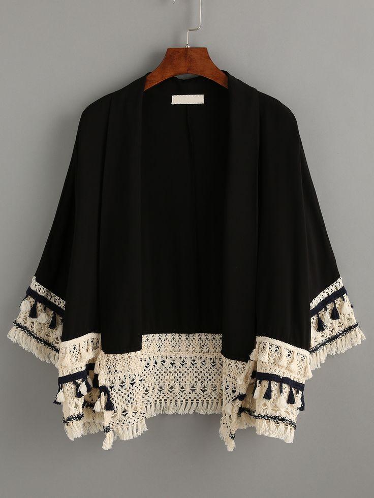 Kimono flecos casual -negro-Spanish SheIn(Sheinside) Sitio Móvil