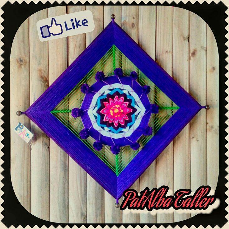 Protección y equilibrio en una bella combinación de colores, morado y verde. Mandala 1 mt. con centro de flor 12 puntas. #patalbataller #diseñoindependiente #diseñodeautor #emprendedora #artesana #mandalas #energías #armonía #decoración #handmade #hechoconcariño