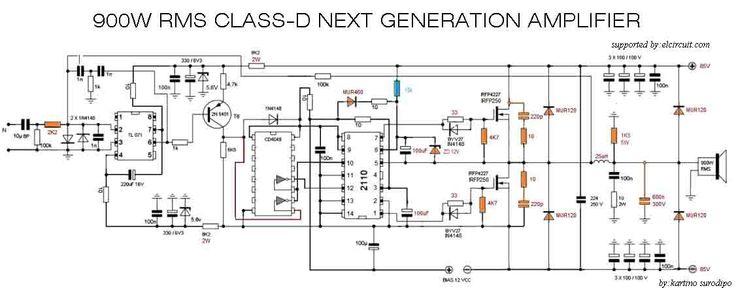 Class D Power Amplifier Circuit Diagram