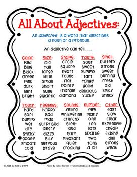 This could be used at home to help students with their homework when writing sentences.  This is a perfect page for your child to use as a visual to improve their sentences as they are writing.  As I started to teach adjectives in my classroom, I felt like my students needed a visual to remind them of what an adjective is.