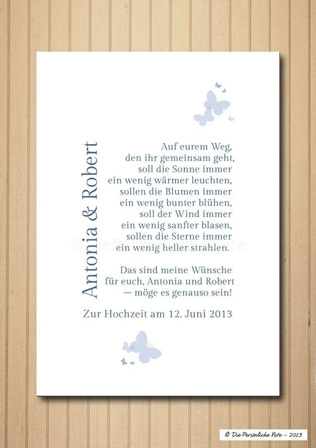 Druck Wandbild Print Segenswunsch Hochzeit Wedding