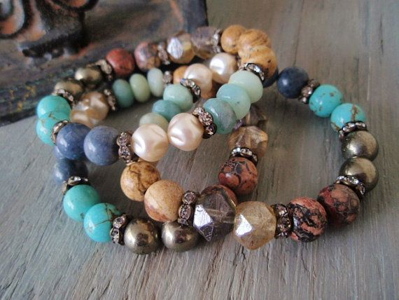 Earthy stretch bracelets - Earth, Wind & Fire - semi precious stone mix rhinestones colorful earthy rustic luxe southwestern country boho