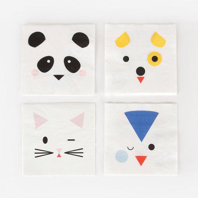 Set 20 papieren servetten Animals