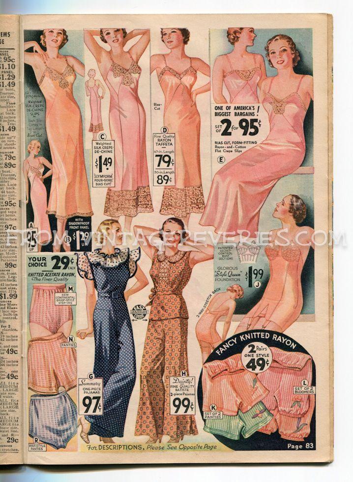 1935 underwear fashion illustrations: slips, garters, panties, bloomers, and pajamas. (Rosa underkläder verkar populärt...)