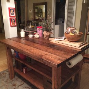 Hand-Built Rustic KitchenIsland. Not a very good picture, but I like it. The paper towel holder is a good idea so you don't have to have one taking up space on the counter