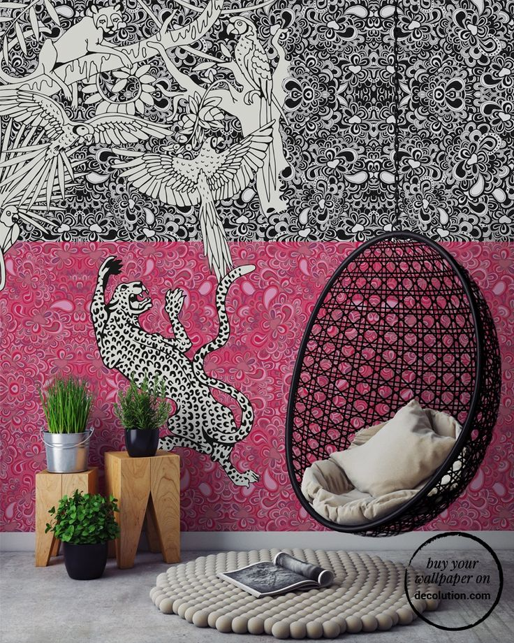 Tribù - A surreal, dense jungle; animals hover on tribal elements in this very original wallpaper where white contrasts with black and pink tones. www.decolution.com #wallpaper #cartadaparati #cartedaparati #papelpintado #papierpeint #tapete #wallcovering #designityourself #DIY #wallpapershop #wallpaperonline #wallcovering #interiordesign #homedecoration #home