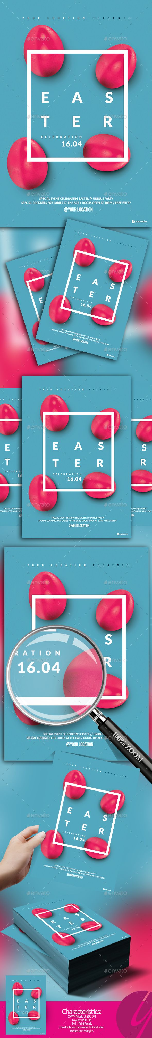 Minimalistic Easter Flyer — Photoshop PSD #4x6 #eggs • Download ➝ https://graphicriver.net/item/minimalistic-easter-flyer/19743562?ref=pxcr