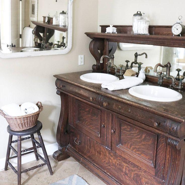 Farmhouse Cottage Bathroom Vanity- Repurposed Antique ...