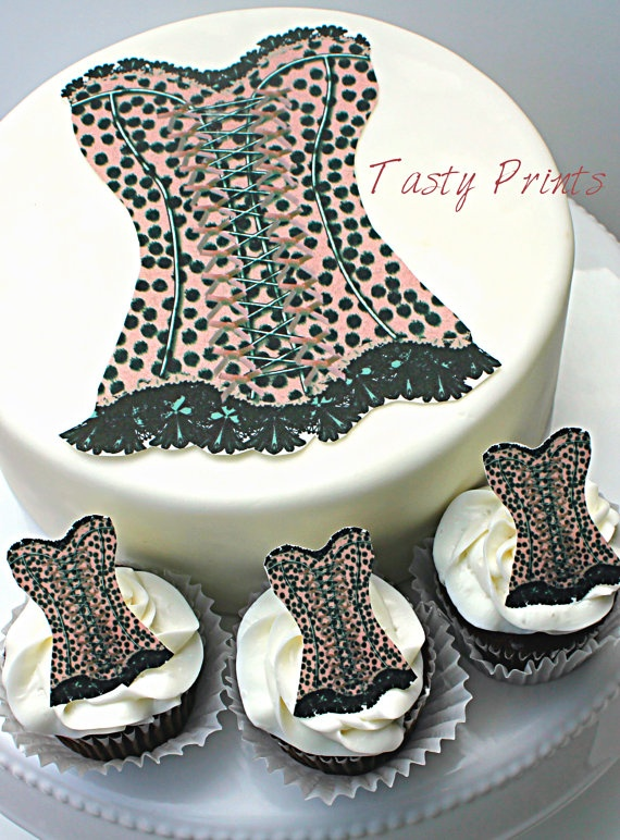 Edible animal print corset cake or cupcake toppers by for Animal print edible cake decoration