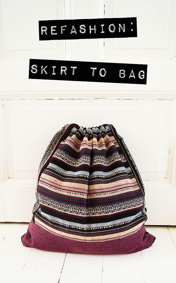 DIY: drawstring bag out of a mini skirt #refashion