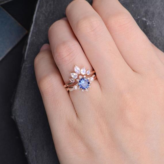 Lab Blue Sapphire Engagement Ring Rose Gold Bridal Set Moonstone