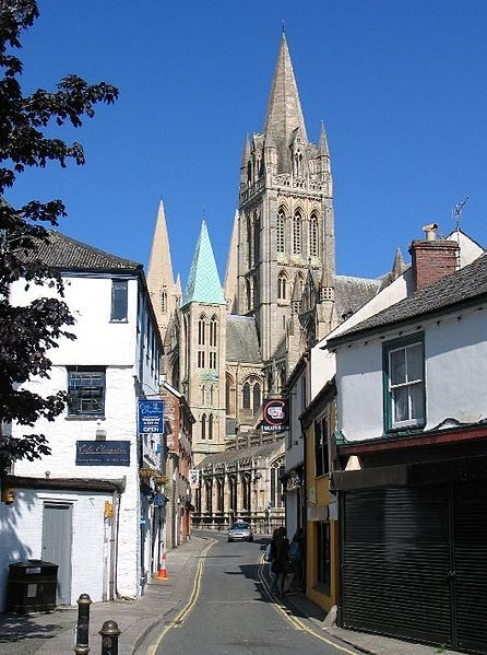 Truro Cornwall. Looking from St Mary's Street towards Truro Cathedral. Gothic Revival design by John Loughborough Pearson