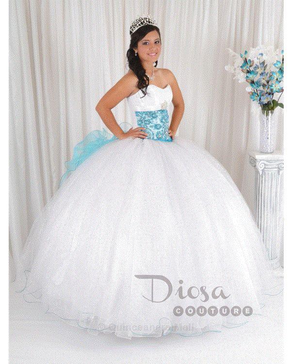 Princess Quinceanera Dress White With Aqua #10139