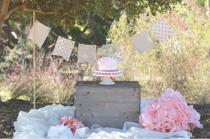 Baby girl cake smash | smash cake | pink and gold | cake smash photo shoot | outdoor cake smash set up www.skybrightphoto.com #skybrightphotography