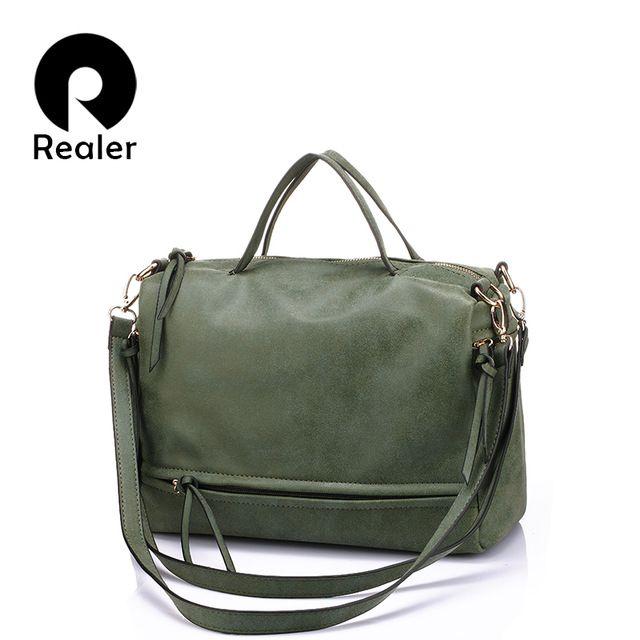 Бренд REALER винтажная сумка женская через плечо с плечевым ремнём, повседневная сумка на ремне, женский портфель из искуственной кожи, серая/армия зеленая сумочка