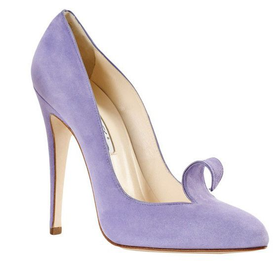 Lilac, suede Brian Atwood darling shoe