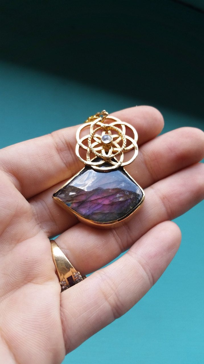 22kt Gold Vermeil Purple Flash Labradorite Eternal Serpent Seed Pendant Double Ouroboros Seed Of Life with Moonstone by youareinfinite on Etsy