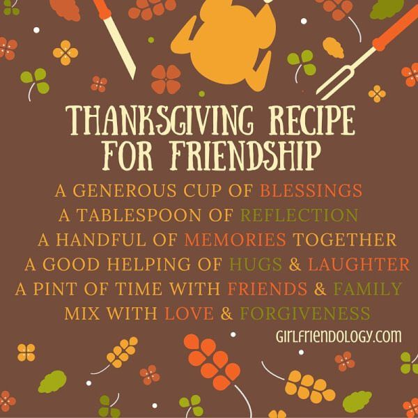 Let's get back to the true meaning of Thanksgiving. How? Here's our Thanksgiving Recipe for Friendship (as well as great gratitude quotes and videos to share!)