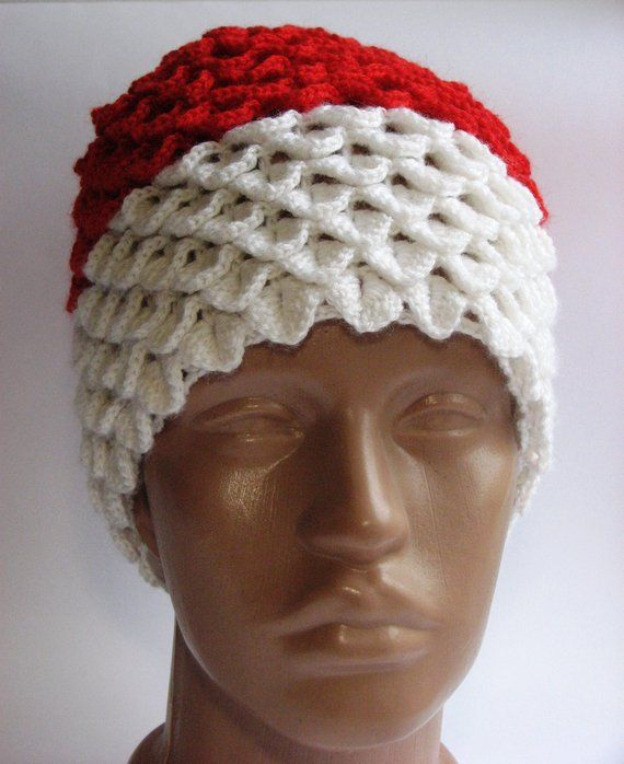 eaa27ea8f20 hat Santa Claus crochet hand made dragon scales mom messy hat Ponytail Beanie  crocodile scales winte