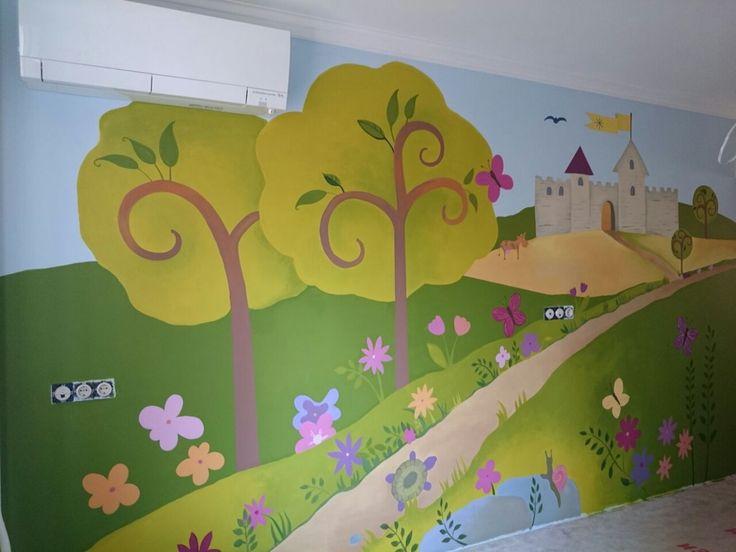 роспись стены в детской комнате, проект.