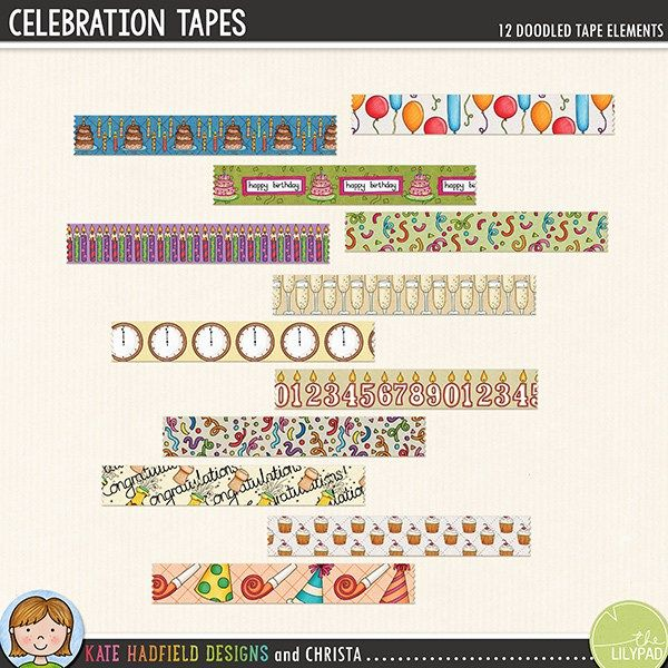 Celebration Tapes digital scrapbook elements - perfect for New Year and birthday celebrations! Hand-drawn digital scrapbook kits from Kate Hadfield Designs.