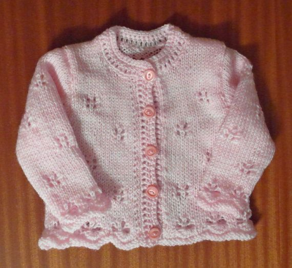 Pretty pink cardigan and cap for baby girls, ready to ship.