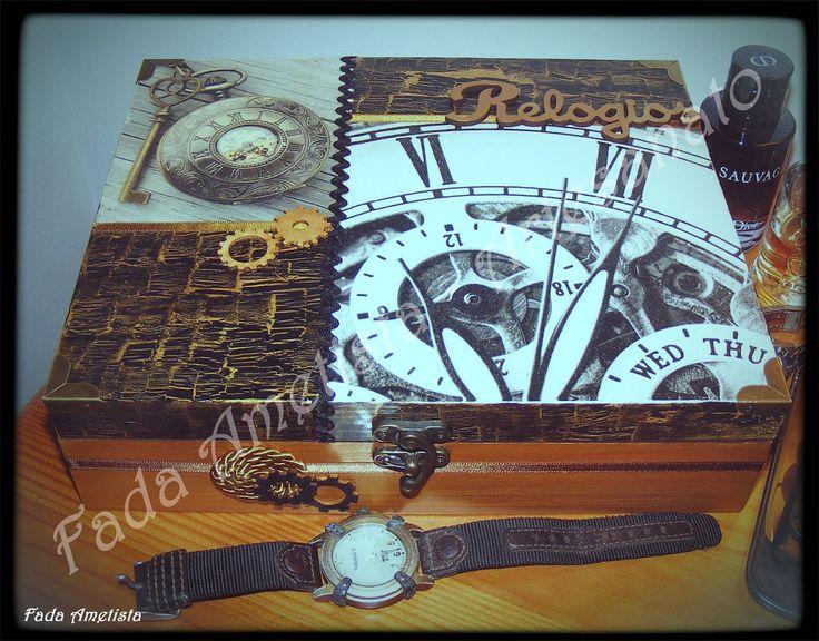 Caixa em madeira para relógios ● Decoupage ● Steampunk