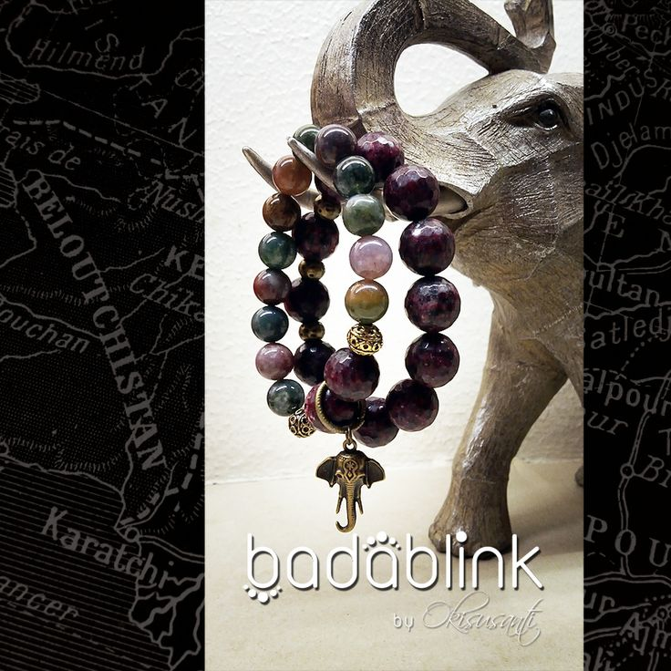 Natural stones and antique gold metal bracelets with antique gold elephant charm    Material: natural stones and metal    Length: 18-22 cm/7-9 inches     Inquiries: facebook.com/badablink      Line: badablink      Email: hello@thebadablink.com