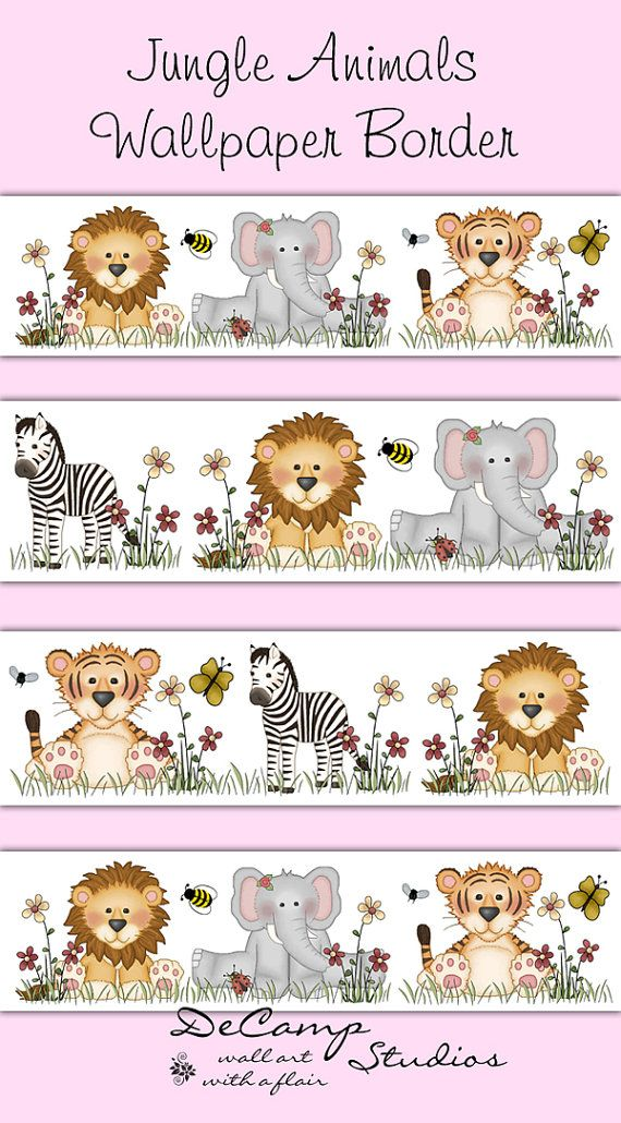 Jungle Animals Wallpaper Border Wall Decals for baby girl or boy nursery or children's safari room decor. A zebra, lion, elephant, and tiger make up this adorable border #decampstudios