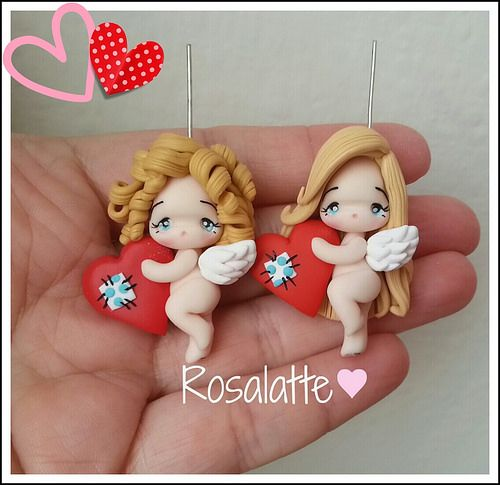 Small pendants with angels in Polymer clay (fimo)