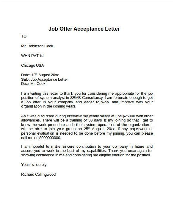 Offer Acceptance Letter template Acceptance letter, Letter