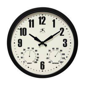 Infinity Instruments Munich Analog Round Indoor/Outdoor Wall Combination Clock 14885Bk-3911