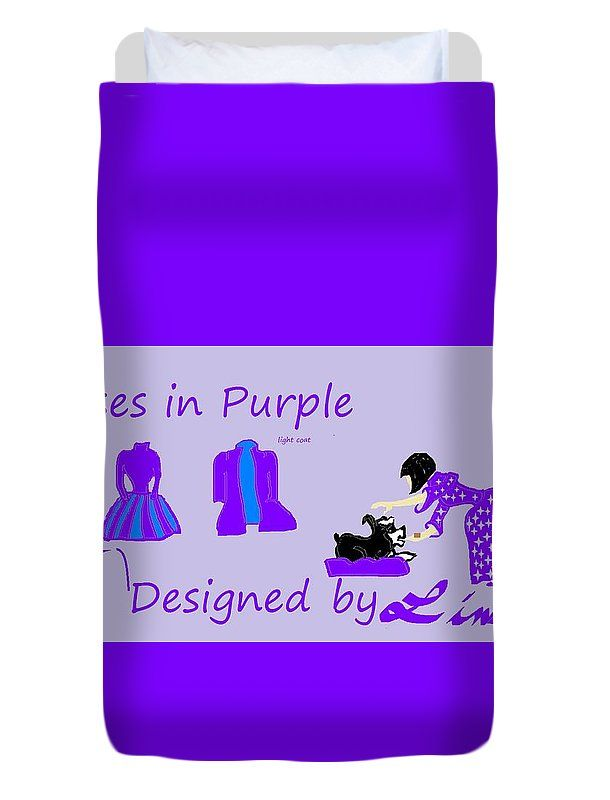 Twin Size Duvet Cover of 'High Style Fashion, Dresses in Purple' by Sumi e Master Linda Velasquez.